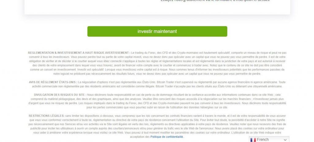 La mise en garde en bas de page est faite pour tromper les visiteurs et donner un semblant de crédibilité à Bitcointrader.site/fr.